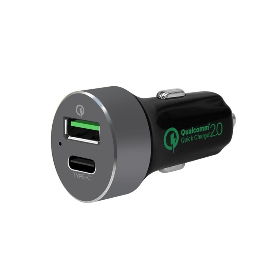 mbeat MB-CHGR-QBC Dual Port Quick charge 2.0 and USB Type C Car Charger