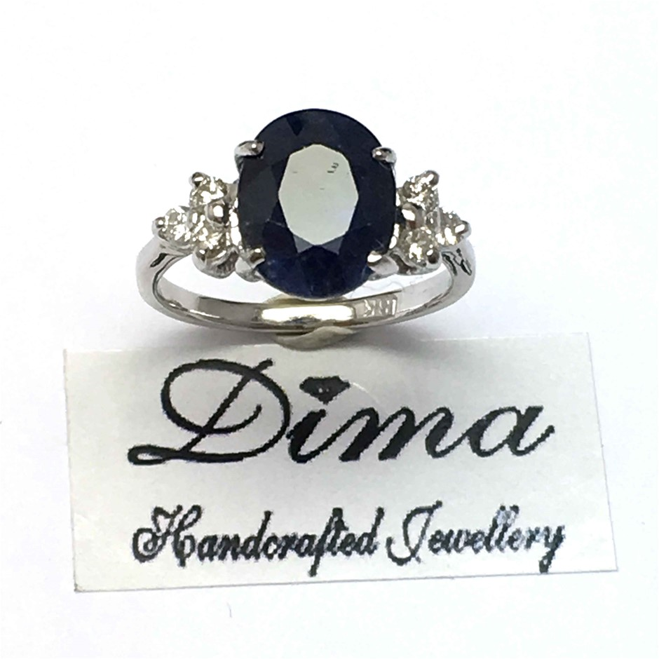 18ct White Gold, 4.62ct Blue Sapphire and Diamond Ring
