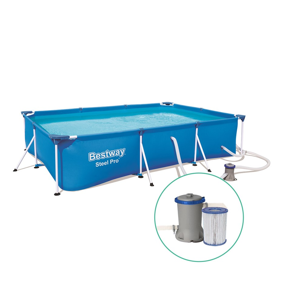 Bestway Swimming Pool Steel Frame Above Ground Rectangular Pool Filter Pump