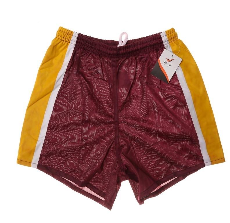 12 x Cappe Sports Shorts, Brisbane, Size 14, Colour: Maroon/Gold/White