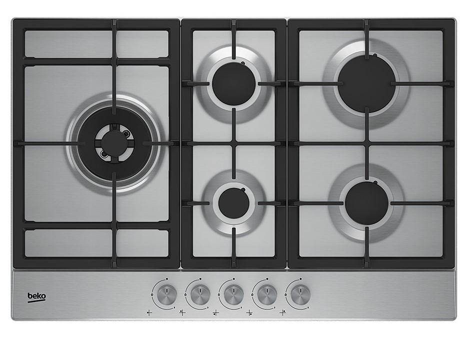 Beko BCT75GX 75cm Stainless Steel Gas Cooktop