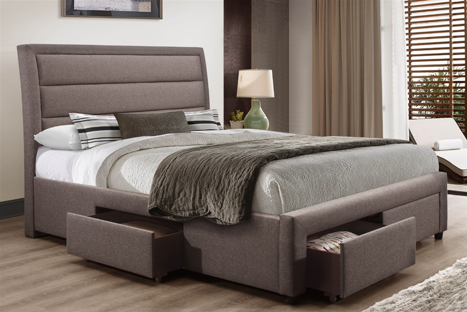 Storage Bed Frame Queen Upholstery Fabric in Light Grey with Base Drawers