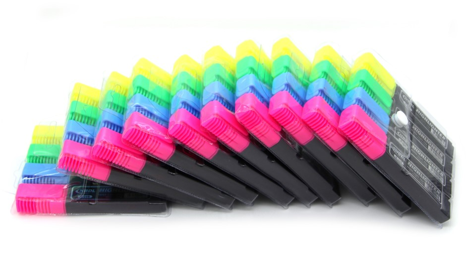 40 Highlighters Assorted Fluorescent Colours Pink/Blue/Green/Yellow