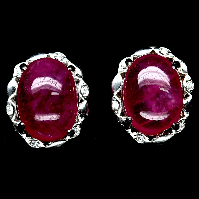 Striking Genuine Blood Red Ruby Stud earrings