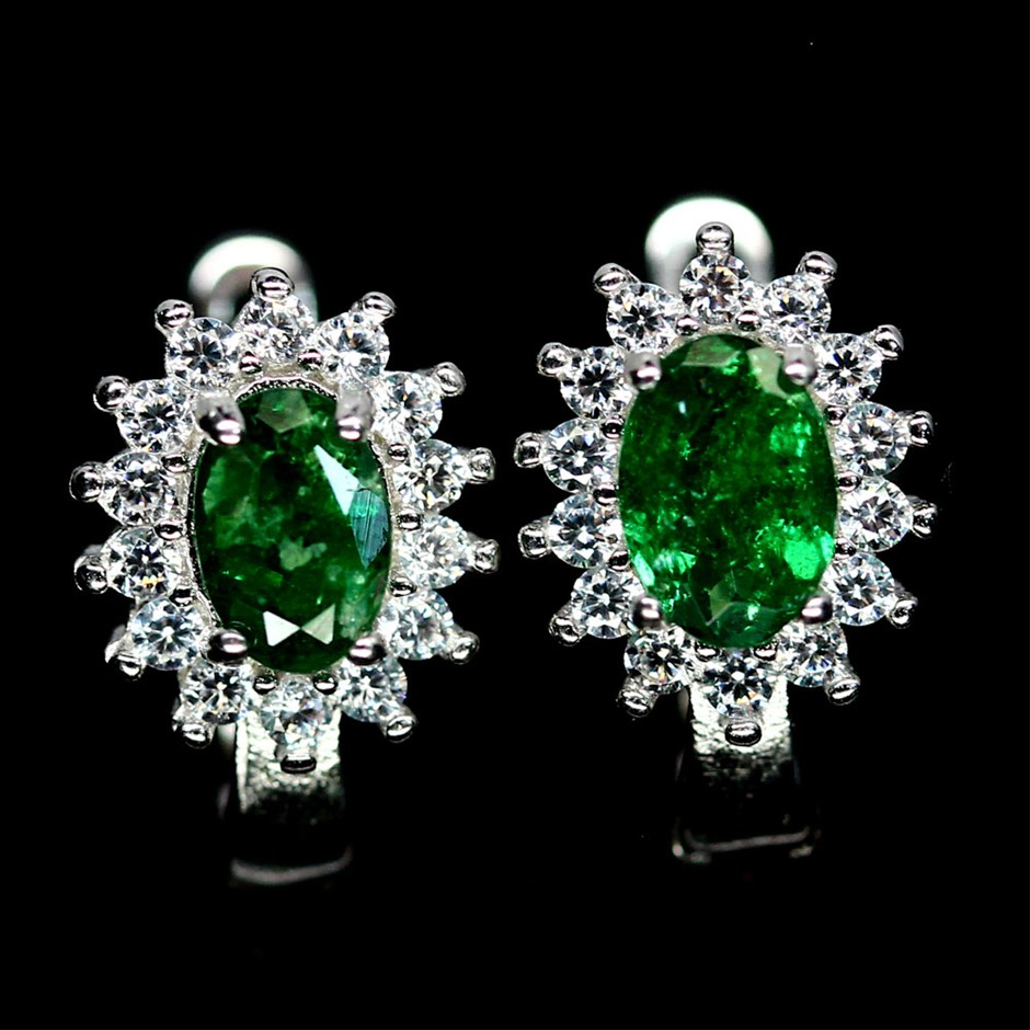 Gorgeous Genuine Tsavorite garnet Huggie Earrings