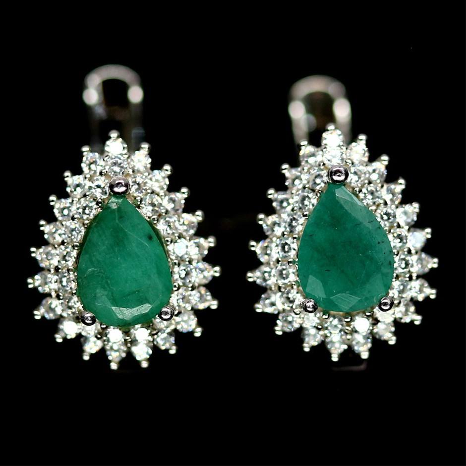 Genuine Emerald Huggie Earrings