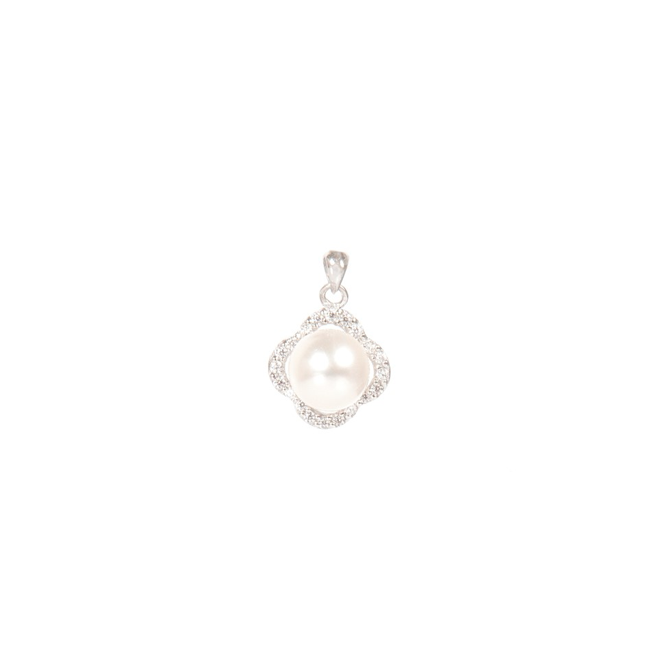 Natural Freshwater White Pearl & Cubic Zirconia Set Pendant