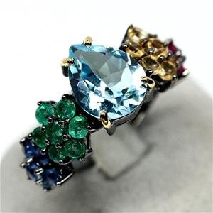 Unique Genuine Ruby Emerald Sapphire & t