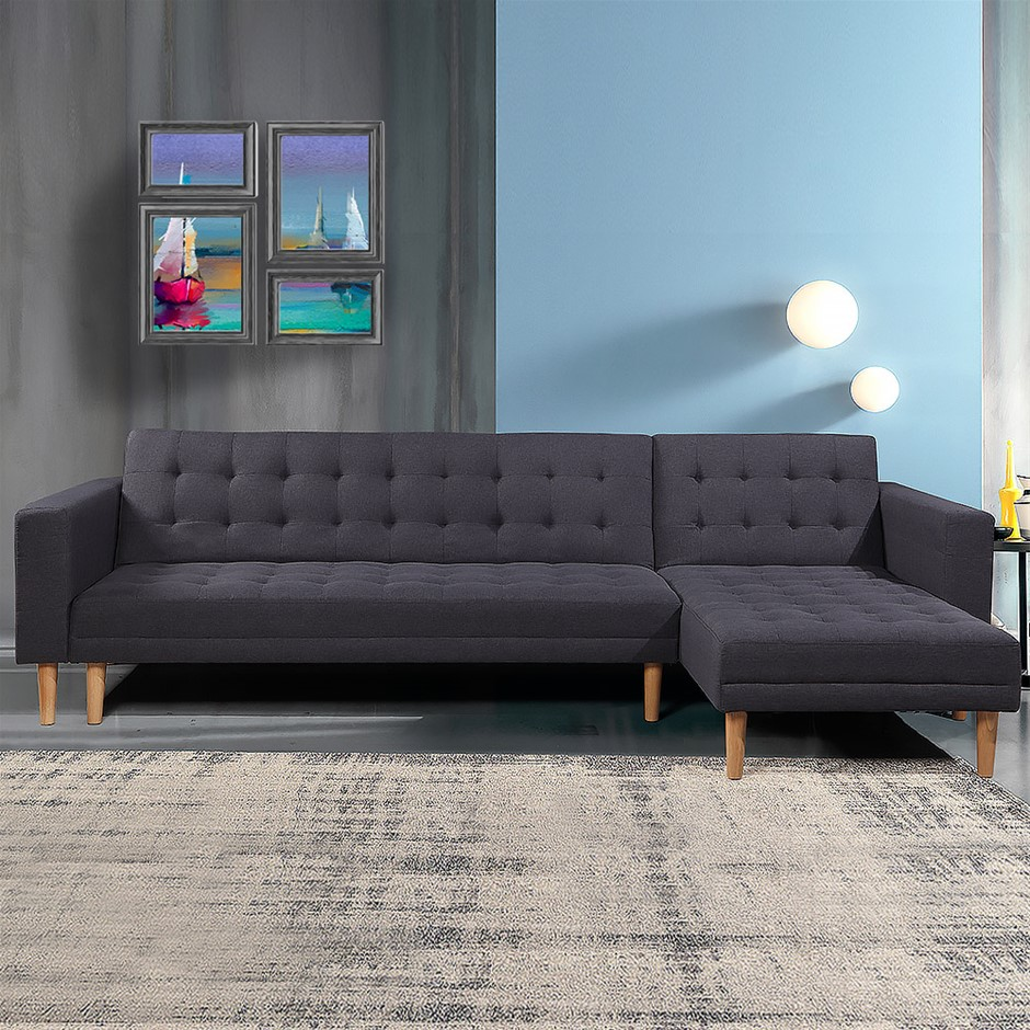 Corner Sofa Lounge with Chaise - Dark Grey Linen