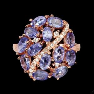 Striking Genuine Tanzanite Cluster Ring