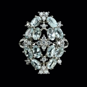 Gorgeous Genuine Aquamarine Cluster Ring