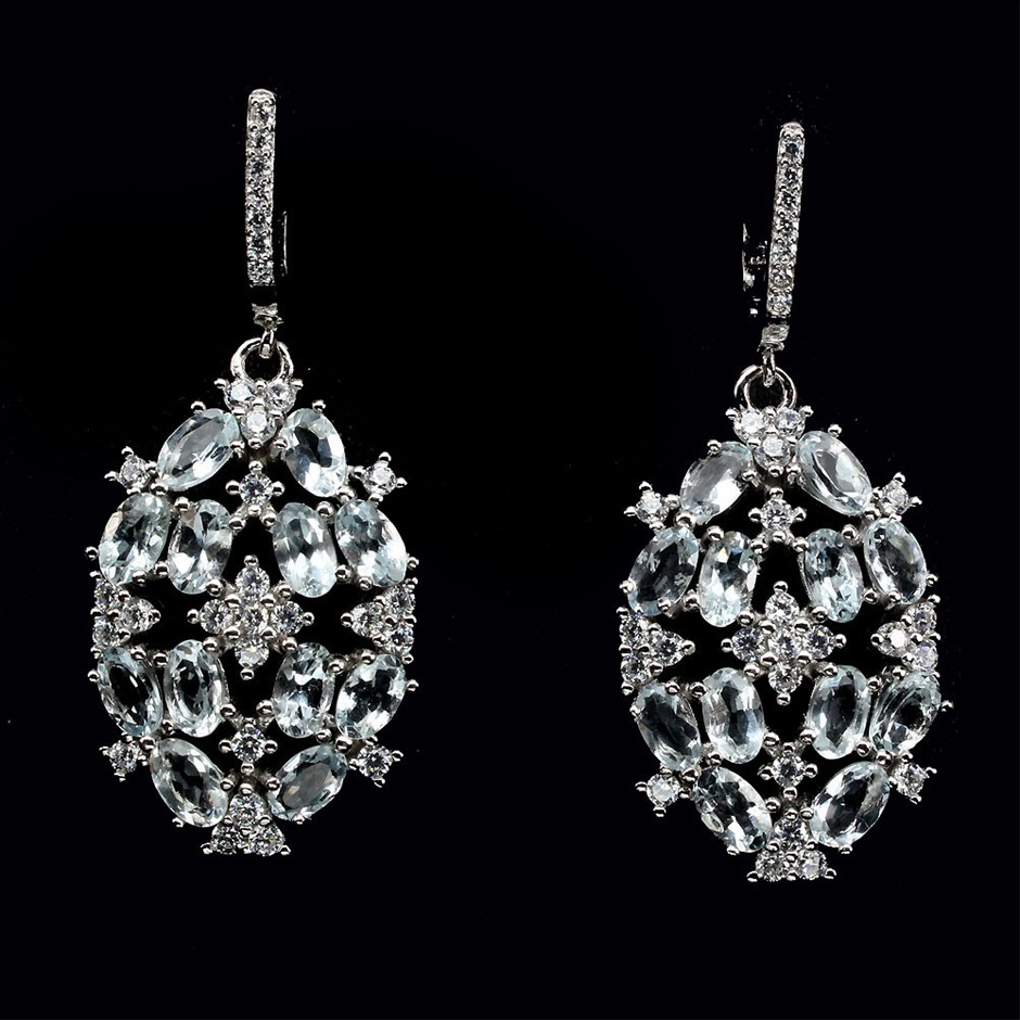 Gorgeous Genuine Aquamarine Cluster Drop earrings