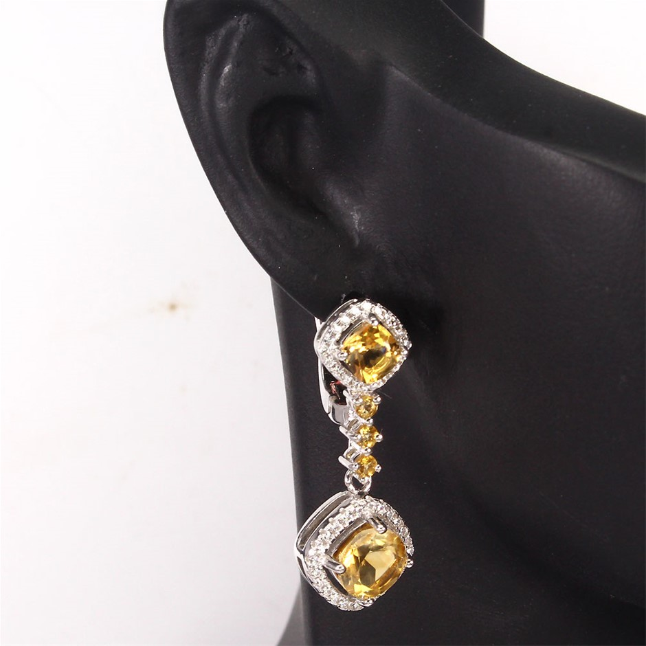 Striking Genuine Citrine Drop Earrings.