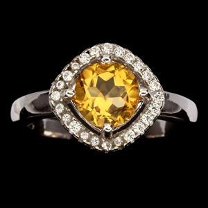 Striking Genuine Citrine Ring.