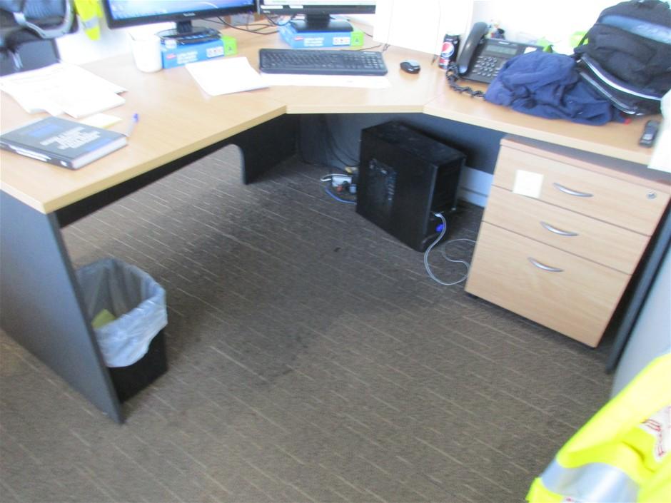 "2x ""L"" Shape Timber Laminate Office Desk"