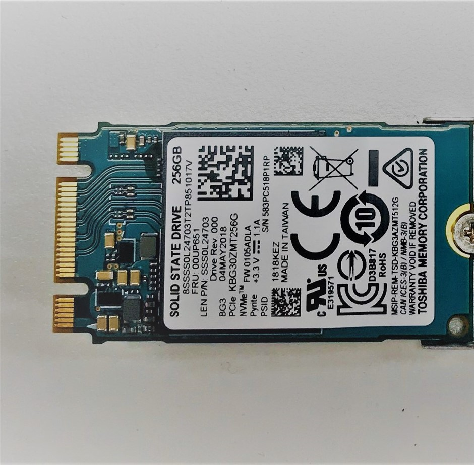 Toshiba 1.6`` M.2 Internal SSD PCIe NVMe 256GB Solid State Drive SSS0L24703