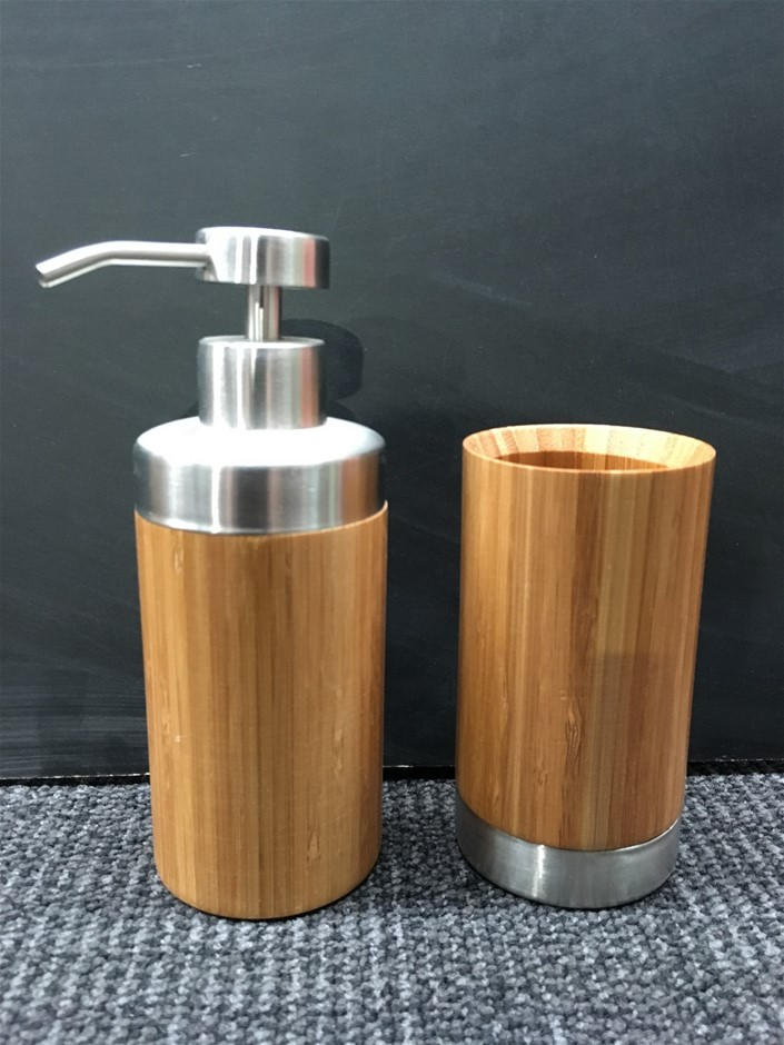 1 x Set of 2 Bamboo & Chrome Bathroom Accessories