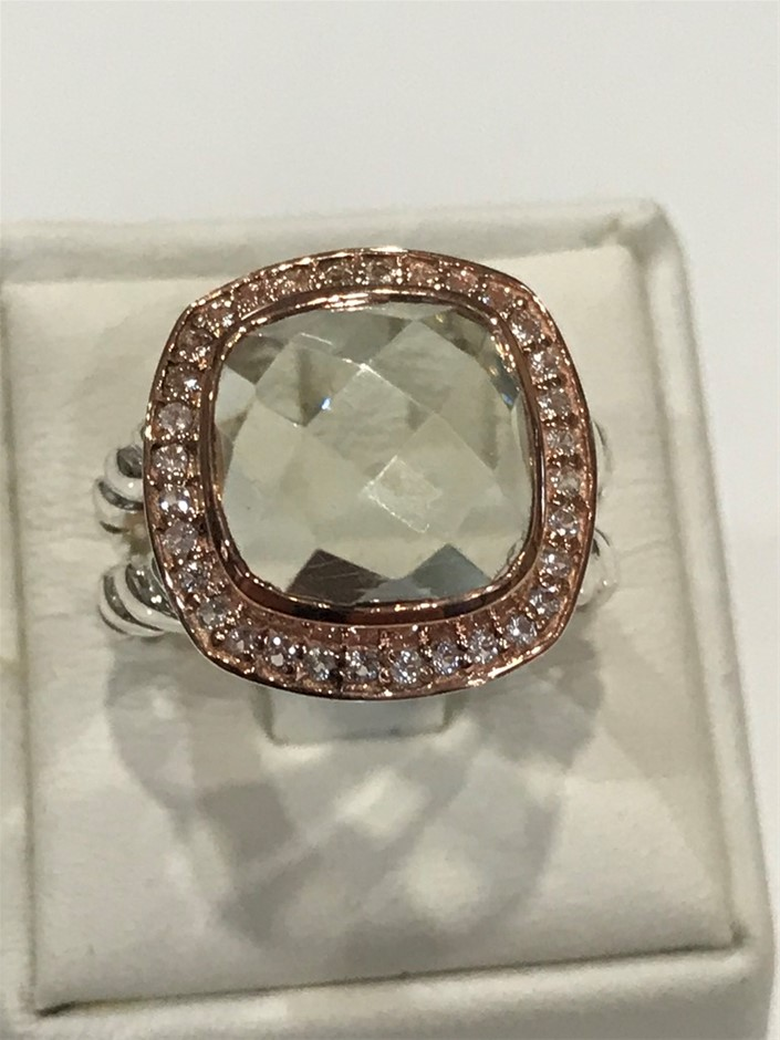 Lovely Green Amethyst Halo Ring 18K Rose/White Gold Vermeil Size L (6)