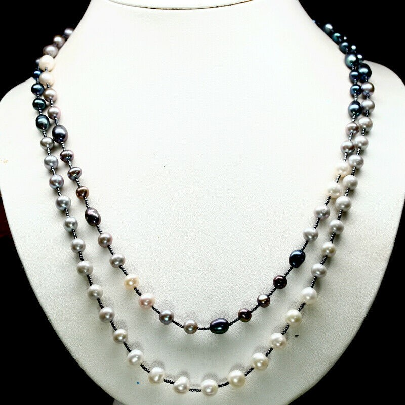 Multi Colour Pearl & Japanese Bead Long Necklace