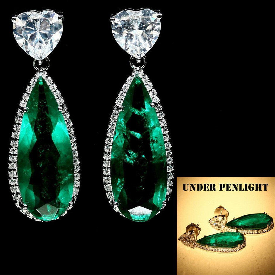 Stunning Pear Shaped Forest Green Doublet Emerald Earrings.