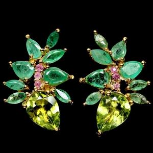 Yellow Gold Emerald, Peridot & Pink Sapp