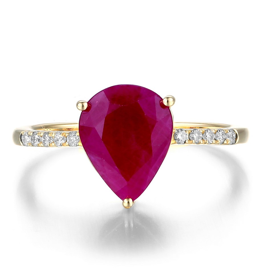 9ct Yellow Gold, 2.93ct Ruby and Diamond Ring