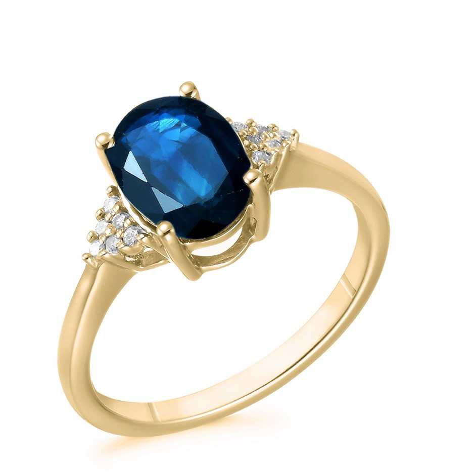 9ct Yellow Gold, 2.49ct Blue Sapphire and Diamond Ring
