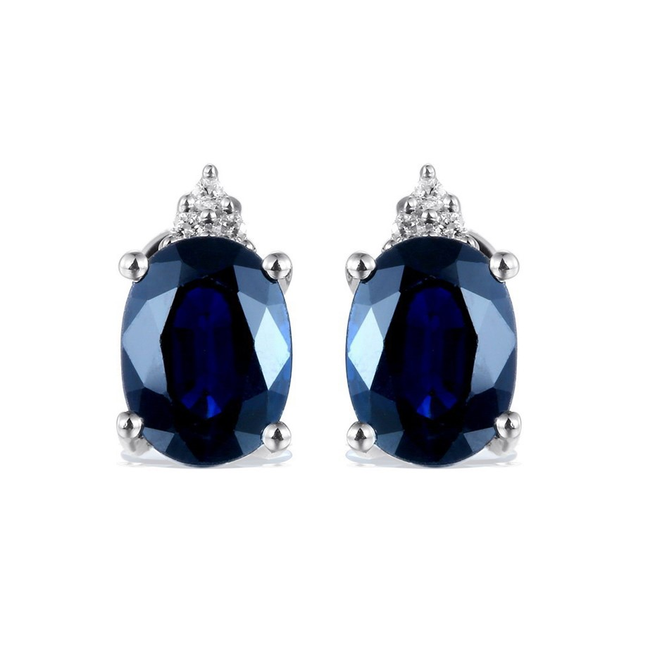 9ct White Gold, 3.19ct Blue Sapphire and Diamond Earring