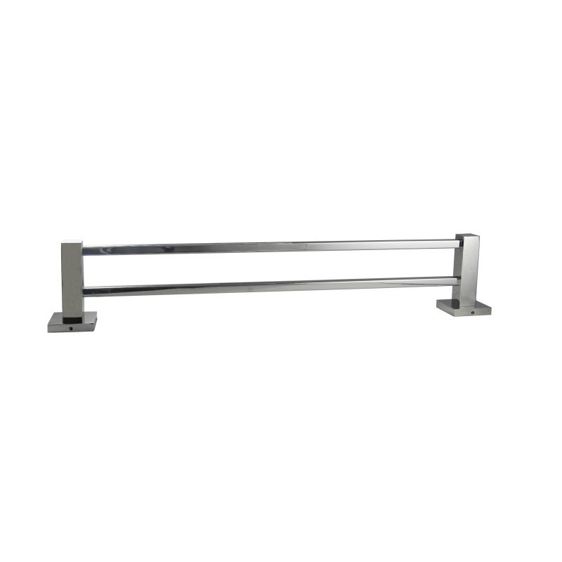 Square Chrome Double Towel Rail 800mm Stainless Steel