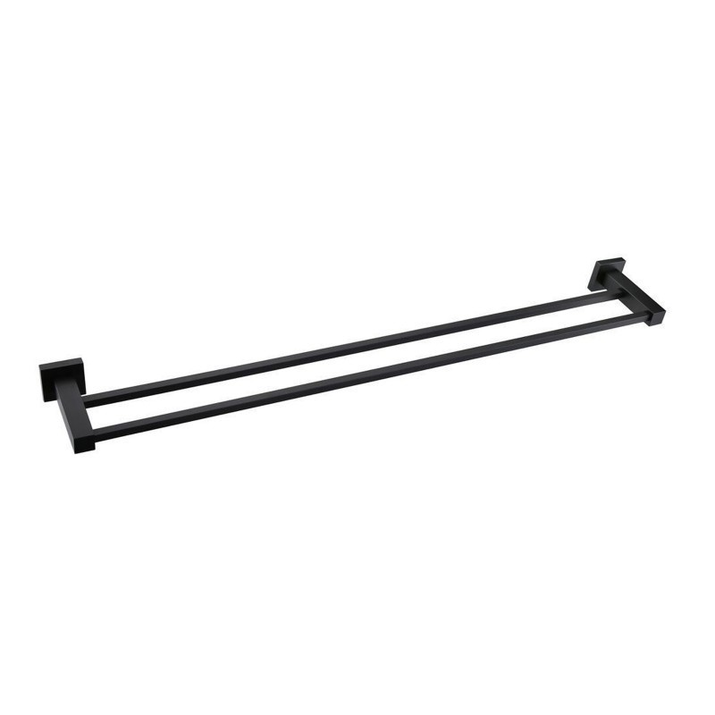 Square Black Double Towel Rail 800mm Stainless Steel Wall Mounted