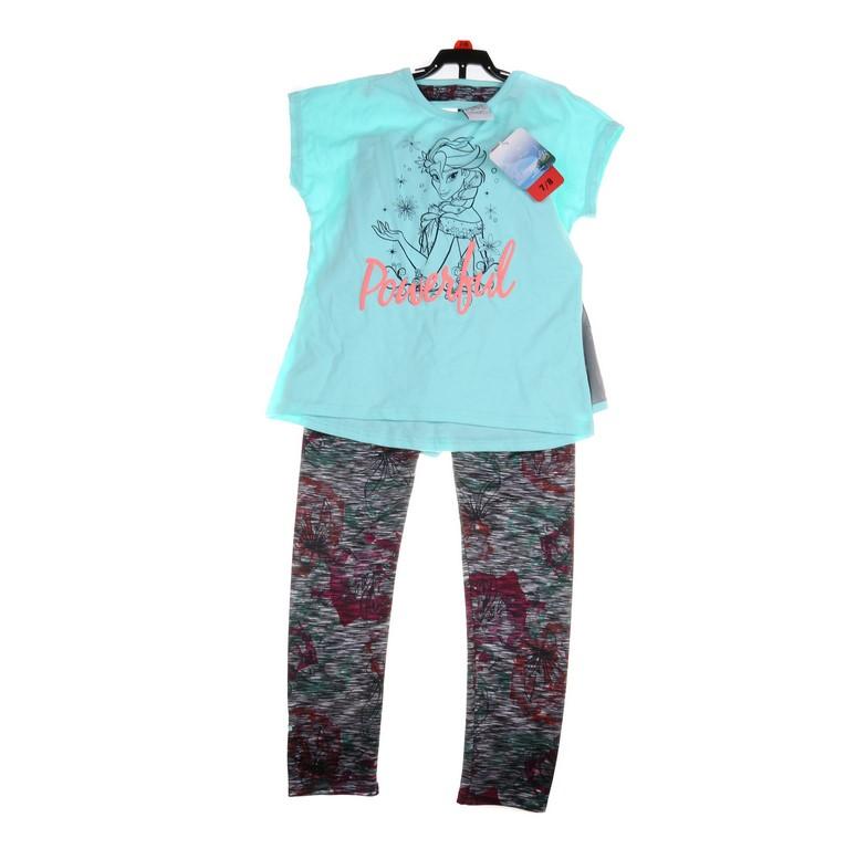 DISNEY Girl`s FROZEN 3pc Clothing Set, Comprising; Top Shorts & Legging. Si