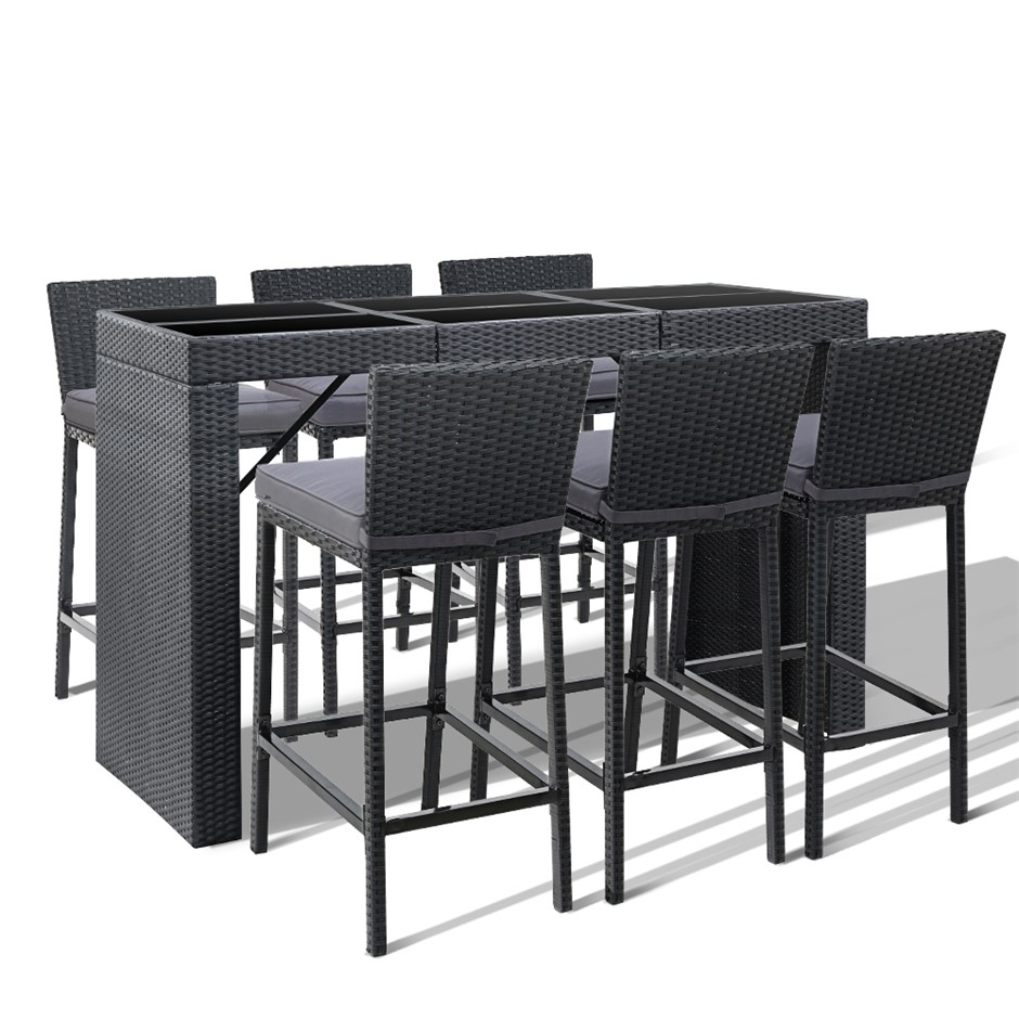 Gardeon Outdoor Bar Set Table Chairs Stools Rattan Patio Furniture 6 Seater