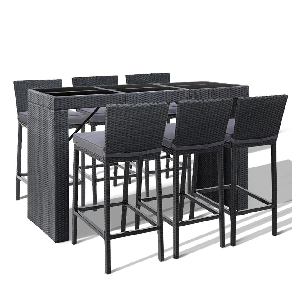 Gardeon Outdoor Bar Set Table Chairs Stools Rattan Patio Furniture 6 Seater
