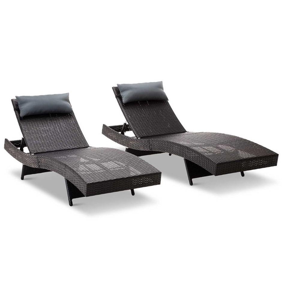 Gardeon Sun Lounge Setting Outdoor Furniture Wicker Day Bed Rattan Garden