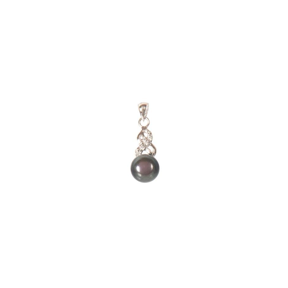 Natural Freshwater Black Pearl & Cubic Zirconia Set Pendant