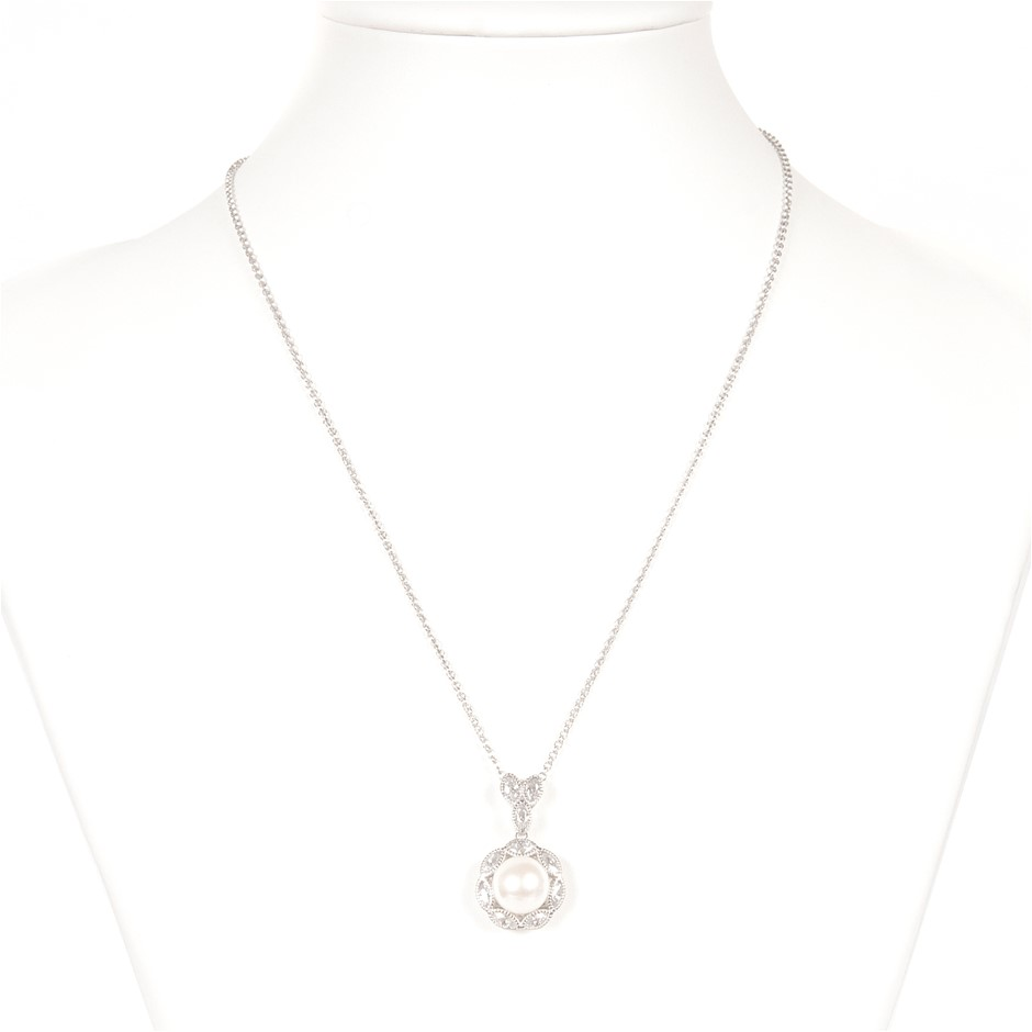 Natural Freshwater Pearl & CZ Set Silver Necklace And Pendant