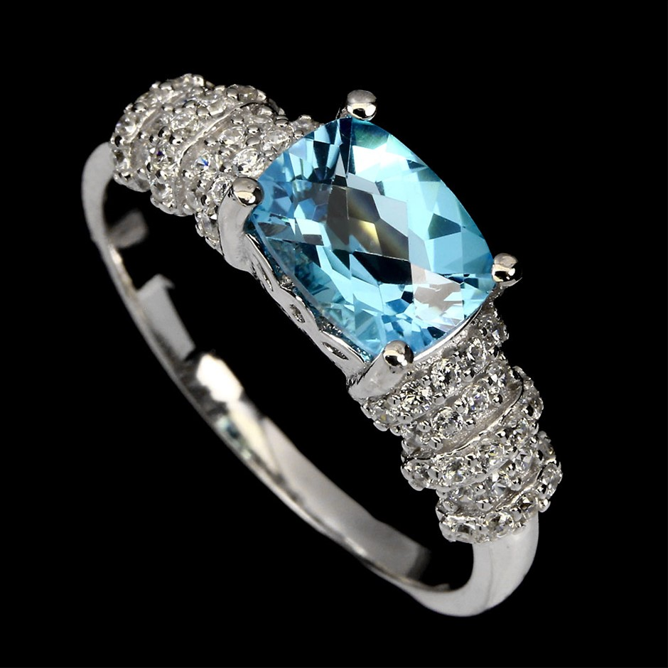 Striking Genuine Swiss Blue Topaz Ring.