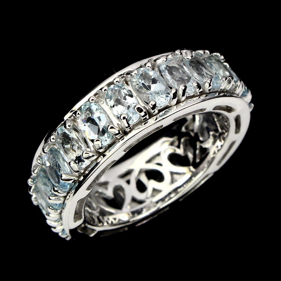 Beautiful Genuine Aquamarine Eternity Ring