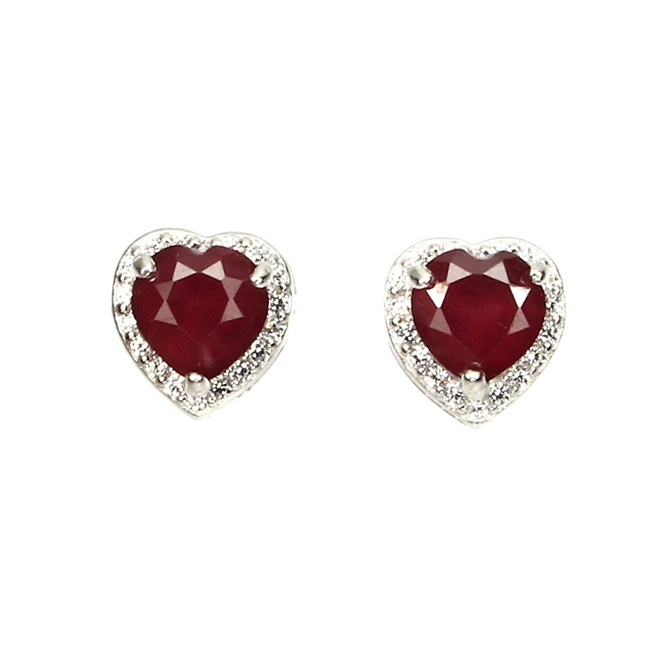 Delightful Genuine Blood Red Ruby Heart Stud Earrings.
