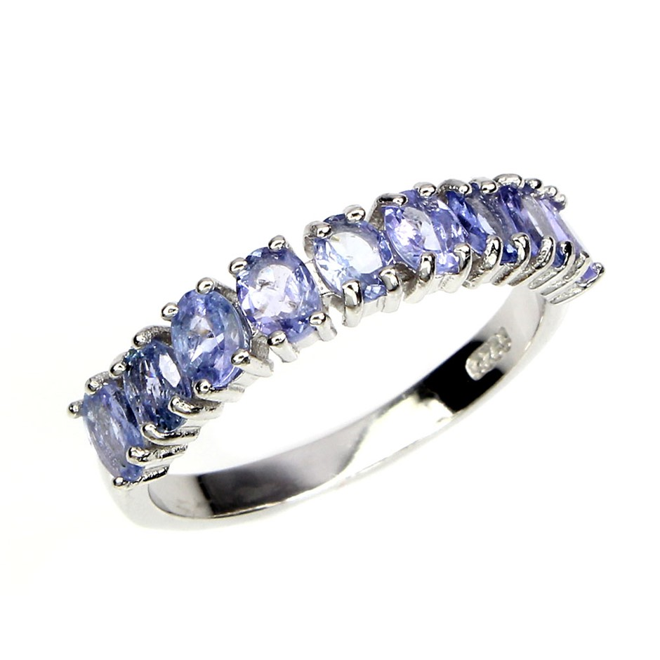 Genuine tanzanite Eternity Band Ring