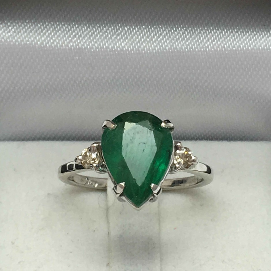 18ct White Gold, 3.46ct Emerald and Diamond Ring