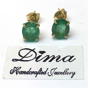 18ct Yellow Gold, 3.45ct Emerald Earring