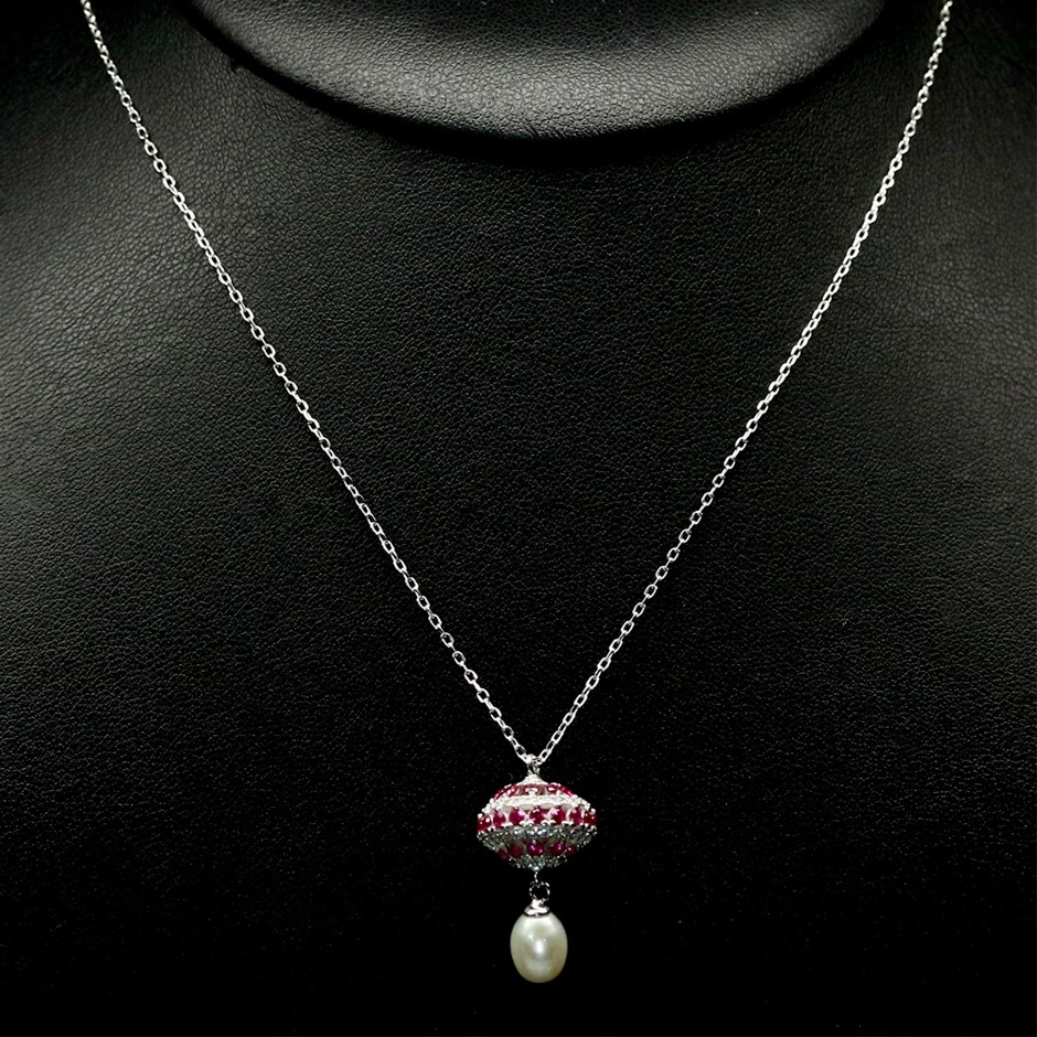 Amazing Genuine Pearl & czs Pendant & Chain