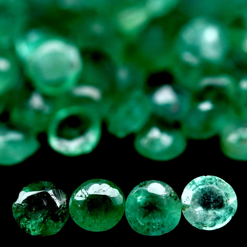 7.20ct. 96 Piece Genuine Round facet Green Emeralds