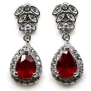 Beautiful Genuine Ruby Drop Earrings