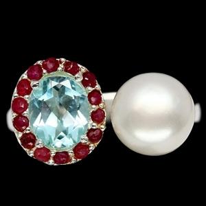 Unique Genuine Ruby Topaz & Pearl Ring.