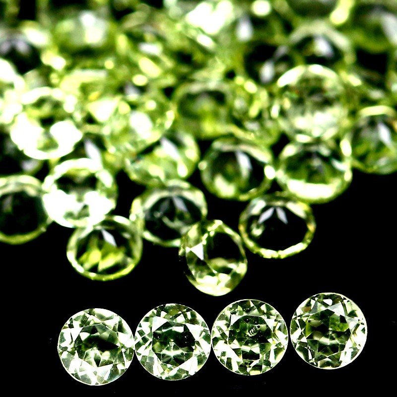 5.00ct. 67 Piece Genuine Round facet Green Peridot