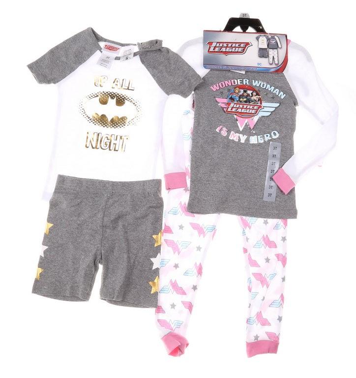 2 x JUSTICE LEAGUE Boy`s 4pc Sleepwear Sets, Size 3T, Incl; Shirts, Shorts