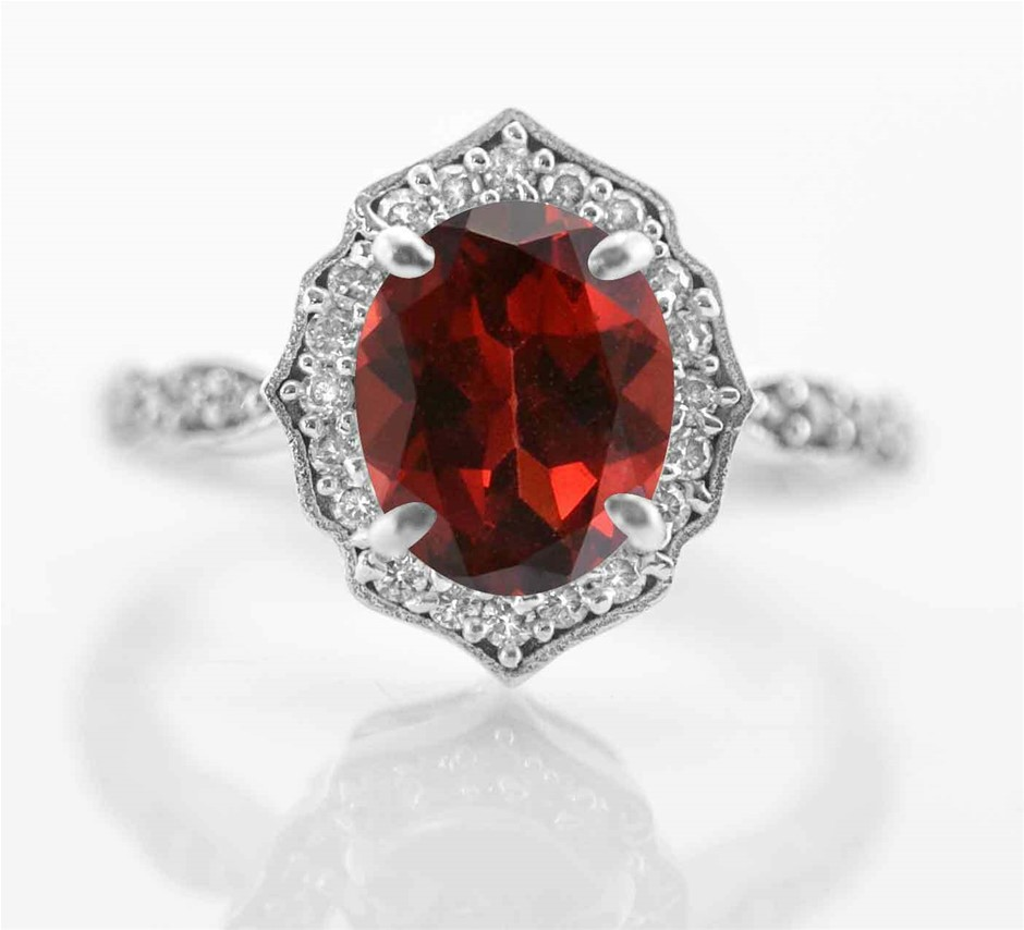 Striking Genuine Blood Red Garnet Ring