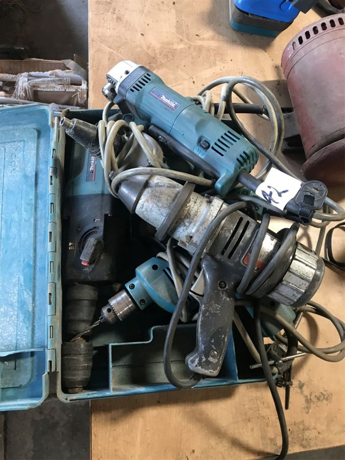Electric hand tools, including right angle drill, TEC gun, hammer drill, im